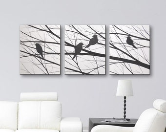 Wall Art Bird Silhouette Love Birds Art Painting Bird Canvas Art Black and White Wall Decor Original Paintings Todd Evans Art 48x20