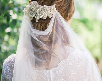 Bridal lace headpiece, FRENCH COUTURE Alencon beaded and pearl headpiece, bridal pearls hair accessory, wedding head piece Style 298