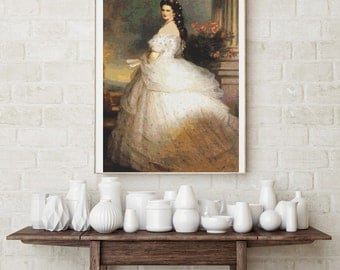 Counted Cross Stitch PATTERN Empress Elizabeth of Austria by Franz Xaver Winterhalter, Cross Stitch Chart PDF
