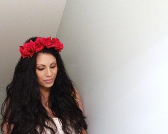 GORGEOUS Flower Crown, Boho Headband, Red Rose Crown