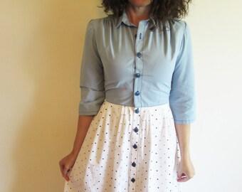 Vintage Blue and White Polka Dot Skirt Dress