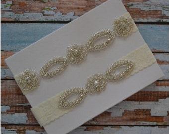 Wedding Garter, Wedding Garter Set, Rhinestone Bridal Garter Set, Elegant Wedding Garter Belt, Unique Bridal Garter Set, R14