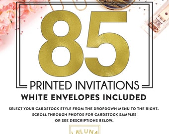 Set of 85 printed invitations / cards