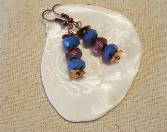Copper Cornflower Bohochic Earrings - Copper Earrings - Cornflower Earrings - Bohochic Earrings