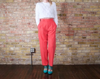 ESCADA wool pleated pants / xs - s / vintage 90s / womens peg pant / high waist pleated pants / high rise trousers / coral pink / colorblock