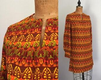 Vintage 1960s Bark Cloth Dress / SALE 60s 70s Bold Orange Leaf Fossil Print Bark Cloth Hawaiian Mod Floral Mini Shift Dress - Small