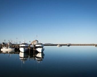 Plymouth harbor, boats, wall art, coastal wall decor, calm water, photography, dawn, coastal, blue, Plymouth MA
