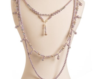 "Shoulder Necklace Jewelry Set:  ""Luminous Possession"" Swarovski Pearls & Crystals (4 pieces)"