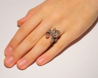 wire wrapped ring, copper ring, earthy jewelry, wire wrapped jewelry handmade, wire jewelry, wire wrap adjustable ring
