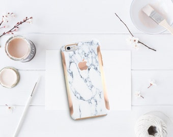 Marble Bianco Sivec White with Rose Gold Detailing Hybrid Hard Case Otterbox Symmetry iPhone 7 / iPhone 8 / iPhone X - Platinum Edition