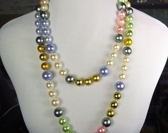 Vintage Escada Haute Couture Oversized Glass Pearl Runway Sautoir Necklace