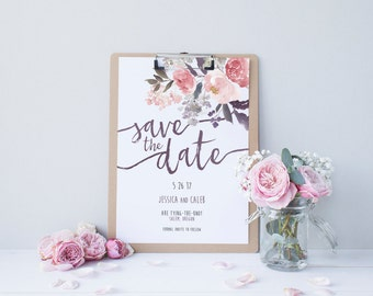 Watercolor Save the Date DEPOSIT - Printable, Custom, DIY, Modern, Painted, Boho, Floral, Flowers, Calligraphy, Rustic, Chic (Design #75)