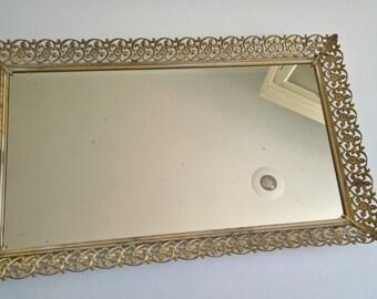 Vintage Gold Vanity Large Mirrored Tray --- French Boudoir Elegant Feminine --- Regal Renaissance Queen Princess Dresser Bedroom Home Decor