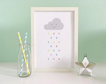 Baby Art Print, Pastel Rain Print, Baby Room, Weather, Room Decor, Nursery Wall Art, Children's Art