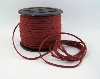 Burgundy Faux Suede Cord 20 Feet USA Seller