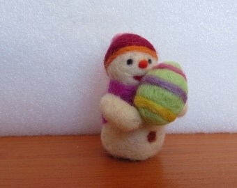 Handmade Needle Felted Snowman for Spring, Easter and Christmas Decoration