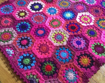 Baby Girl Crochet Blanket - MADE TO ORDER - Pink Hexagon Baby Blanket - Baby Shower Gift - Crochet Gift