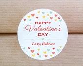 Personalized Valentine stickers - Confetti hearts stickers - Colorful hearts kids valentine party - Customized Treat bag labels (L-08)