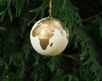 Hand Painted World Globe Personalised Christmas Bauble in White & Gold | Travel | Wanderlust | Gift | Tree Decoration | Hanging Ornament