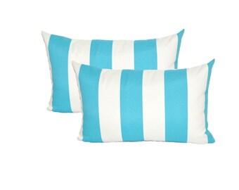 Set of 2 - Cabana Cancun Blue and White Stripe Indoor / Outdoor Lumbar / Rectangle Decorative Throw Pillows