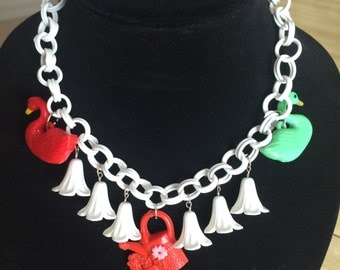 Vintage Celluloid Necklace - Flowers and Geese