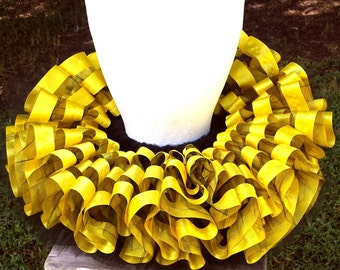 Bee-utiful bee inspired black and yellow ribbon trimmed tulle tutu