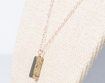Rose gold necklace, pyrite pendant necklace, rosegold necklace, layered
