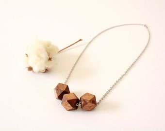 Wooden Geo Necklace, Wooden Geometric Bead Necklace, Wooden Necklace, Wooden Jewelry