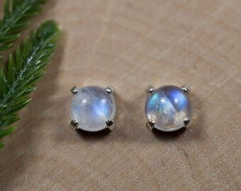 Rainbow Moonstone Earrings in Sterling Silver or 14kt Gold