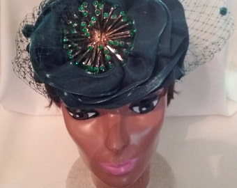 "green satin head band Hat,24"" around."