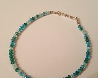 Aqua Glass Ankle Bracelet