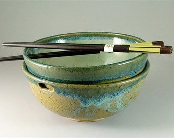 Pottery Rice Bowl Pair with Chopsticks - Ivory, Olive Green, and Glossy Teal Blue