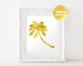 Palm Tree Real Gold Foil - Palm Tree Art Print - Florida Palm Tree - Gold Palm Tree - Florida Art Decor - Office Decor - Wall Art