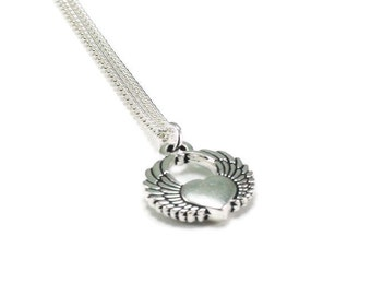 Heart with Wings Necklace Sterling Silver Plated Chain