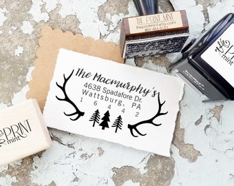 Christmas Address Stamp- Holiday Stamp, Christmas Stamp, Antler Stamp,  Christmas Rubber Stamp and Self inking Stamp 10152