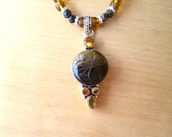 Carved Tigereye Tiger Eye Necklace, Sterling Silver Carved Tiger Eye and Citrine Pendant and Faceted Glass Bead Necklace