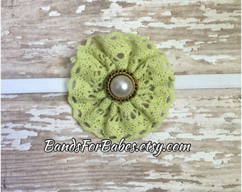 SALE Lime green Crochet Flower Headband, Flower Skinny Elastic Headband, Baby Headband, Infant Headband, Newborn Bow, Coming Home Headband