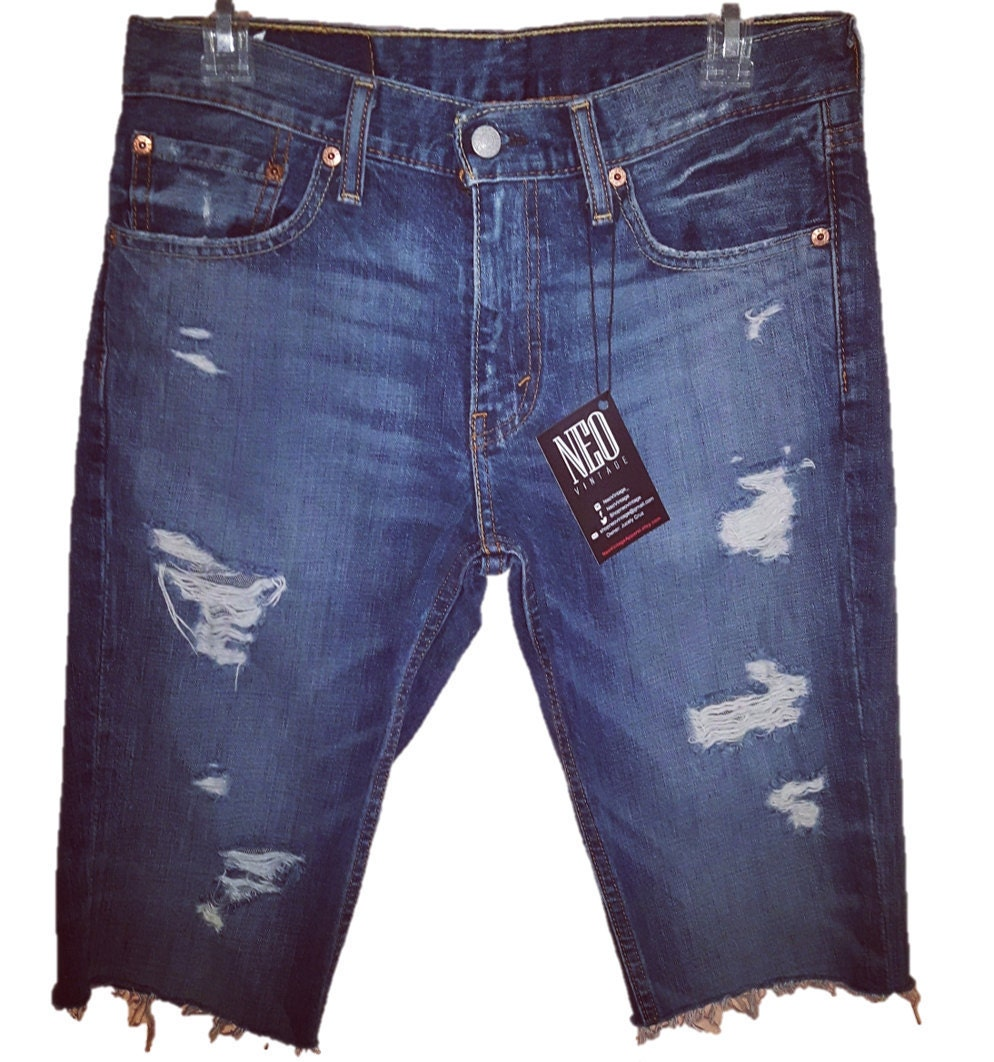 Men's Levi's Blue Denim Distressed Cut Off Jean Shorts