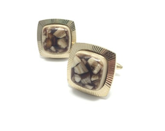 Vintage Gilt Signed Cuff Links, Brown Cream Lucite, Gold Tone, Signed