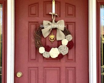 18 inch Grapevine Wreath, White, Gray, Deep Red, Burgundy, Maroon Burlap Flowers, Gray Bow/Hanger, Spring Summer Fall Autumn Wedding Wreath