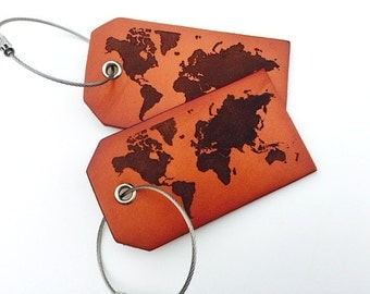 The Perfect Travel Gift, Leather Luggage Tag Personalized, World Map Travel Tag, Baggage Tag, ID tags, Genuine Leather, Stocking Stuffer,