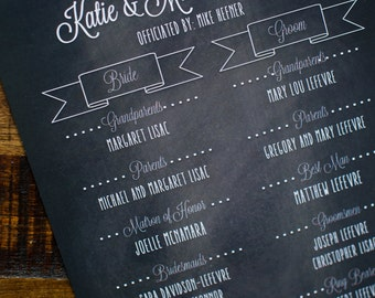 Wedding Program Fan-Chalkboard background