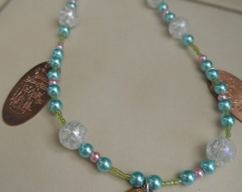 Tinkerbell & Disneyland Pressed Penny Beaded Necklace- 60th Anniversary *LIMITED EDITION*