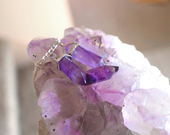 Amethyst Crystal Necklace, Crystal Amethyst Necklace, Healing Crystal Necklace, Healing Jewelry, Healing Crystals and Stones