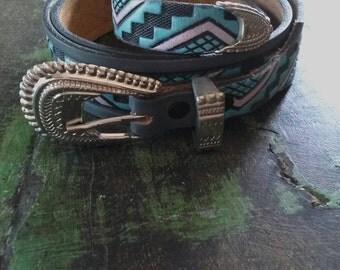 Vintage Chambers Leather Southwestern Belt