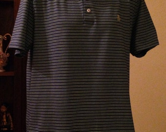 Nice Vintage Blue and White Striped Polo Shirt by Penguin, Musingwear