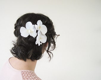 White Flower Hair Clip | Bridal Hair Pin | Hair Pins Wedding Headpiece | Set of 3