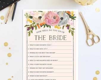How Well Do You Know The Bride - Sweet Blooms Bridal Shower Game - Wedding Shower - Floral - Print at Home - Instant Download