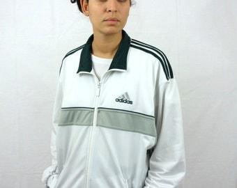 Vintage 90s  ADIDAS Jacket Grey White Green Sport Jacket Jogging Oldschool Tracksuit Sweat suit M