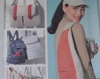 Butterick 4147. One size pattern. VISOR and UTILITY BAGS. Purse, backpack, travel bag. Pattern is uncut and factory folded.